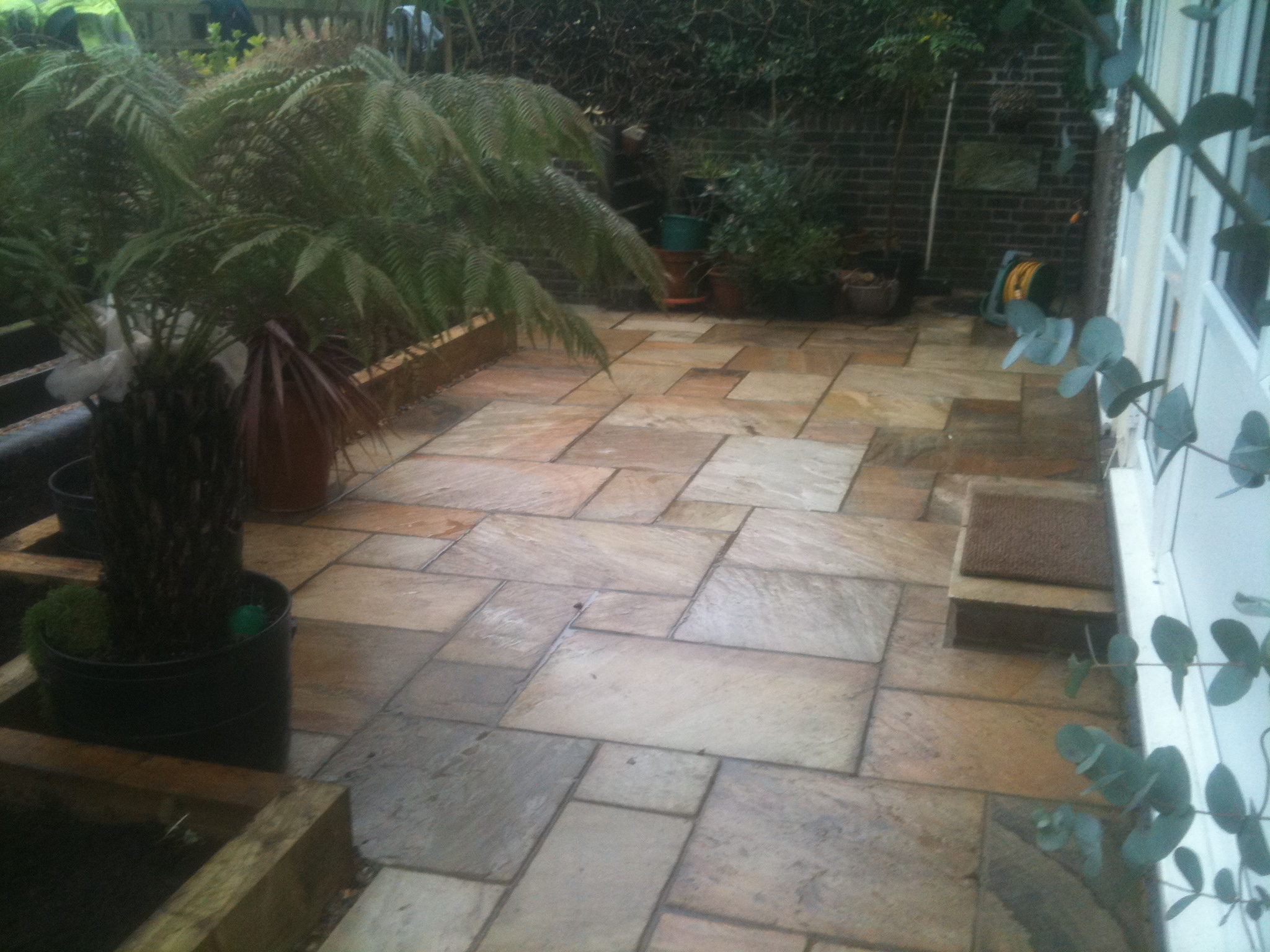Fossil mint paving, sleeper raised beds